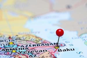 Baku coincé sur une carte de l'Asie photo
