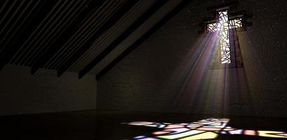 vitrail crucifix lumière rayon couleur photo
