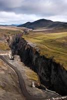 barrage de karahnjúkar - canyon de la rivière en islande photo