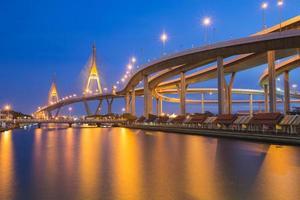 pont circulaire industriel sur la rivière photo