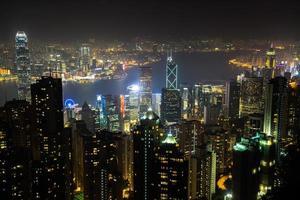 vue nocturne de la ville de hong kong photo