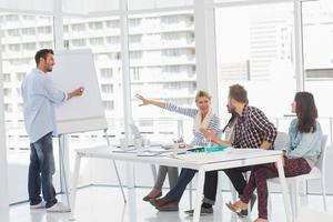 homme présentant une idée à ses collègues photo