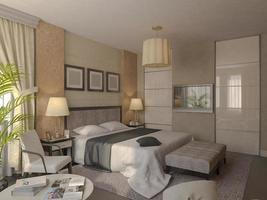 Illustration 3D de la conception d'une salle de bain de couleur brune photo