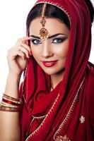 portrait, de, belle femme, dans, indien, style photo
