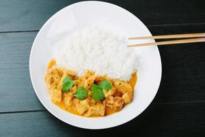 poulet au curry épicé avec du riz photo