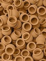 petits récipients en terre, pichets, pots en argile photo