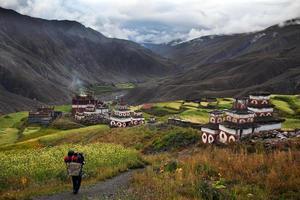 Village de Saldang à Dolpo, Népal photo