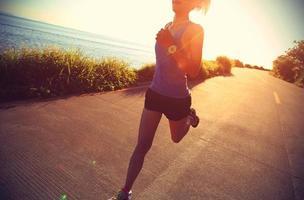 coureur, athlète, courant, à, bord mer, road., vendange, effet photo