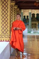 portrait, jeune, bouddhiste, moine