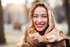 femme affaires, porter, foulard photo