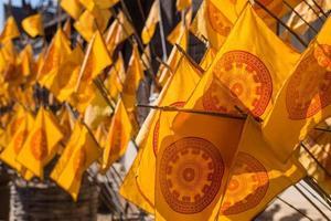 Symbole du drapeau dharmacakra, la roue de la loi photo