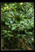 Bouddha à la fenêtre en fer forgé. photo