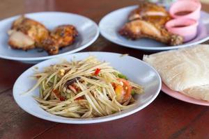 salade de papaye verte épicée et poulet grillé