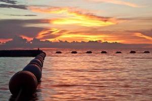 Pattaya, Thaïlande, plage de Wongamat au coucher du soleil