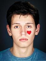portrait, de, amoureux, jeune homme
