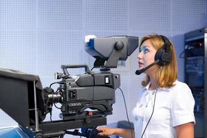 téléopérateur au studio de télévision photo