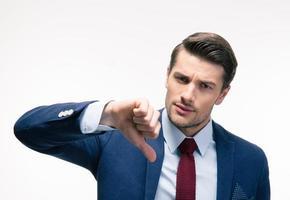 homme affaires, projection, pouce bas, signe photo