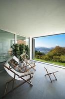 intérieur, balcon avec vue sur le lac photo