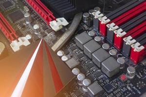 fentes et composants de mémoire de carte mère de PC photo