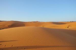 Dune de sable de l'erg chebbi contre ciel bleu clair