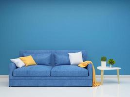 ensemble de salon avec mur bleu
