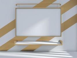 Rendu 3D de tableau blanc sur mur rayé photo