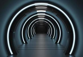 Scifi rendu 3D d'un couloir de vaisseau spatial