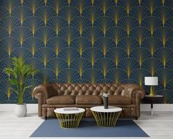 Rendu 3d de design d'intérieur moderne d'espace de salon