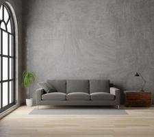 Salon de rendu 3D avec canapé marron, béton brut, parquet, fenêtre et plante