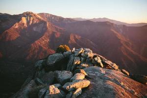 coucher de soleil dans le parc national de séquoia