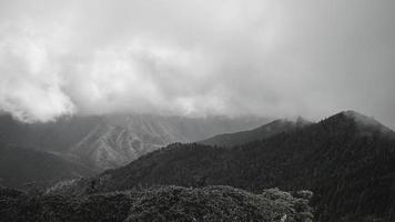 montagne avec brouillard