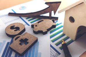 feuille de calcul des actions de banque financière photo