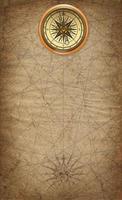 fond de style carte pirate avec image de boussole en haut photo