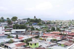 Vue aérienne des bidonvilles de la ville de Panama