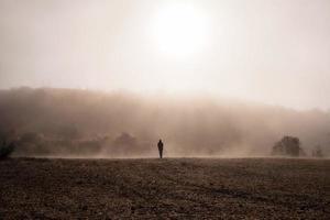 silhouette de personne marchant sur champ brun photo