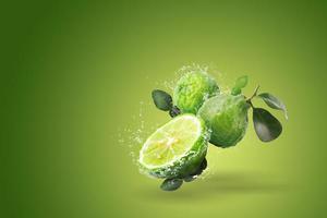 éclaboussure d'eau sur le fruit de la bergamote
