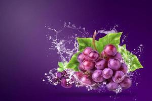 eau éclaboussant sur les raisins rouges photo