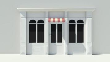 vitrine ensoleillée avec de grandes fenêtres façade de magasin blanc