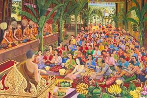 Peinture murale traditionnelle thaïlandaise sur le mur du temple photo
