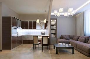 studio de cuisine séparé par arc photo