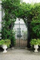Façade de porte de plantes avec pots de fleurs blancs