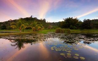 Réflexion des collines et coucher de soleil coloré à Sabah, Bornéo, Malaisie photo