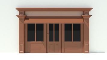 vitrine ensoleillée avec de grandes fenêtres façade de magasin blanc et marron