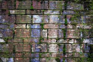 Façade de brique vert bleu bordée de grunge photo