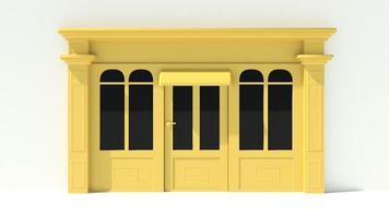 vitrine ensoleillée avec de grandes fenêtres façade de magasin blanc et jaune