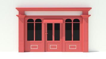 vitrine ensoleillée avec de grandes fenêtres façade de magasin blanc et rouge