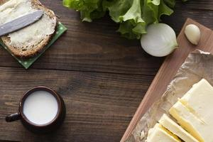 lait, sandwich, légumes verts, beurre photo