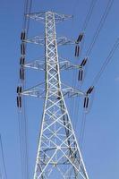 Poteau d'alimentation haute tension avec ciel bleu photo
