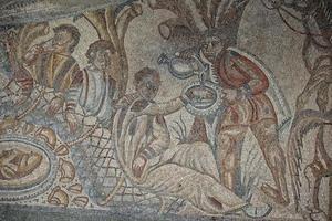 Détail de carreaux de mosaïque de sol romain photo