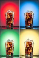 verre avec du cola et de la glace. collection de quatre arrière-plans
